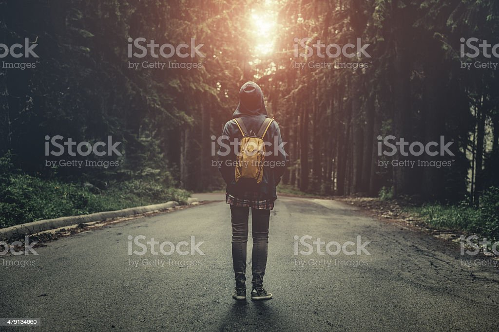 Tourist with backpack walking in a foggy forest at sunset stock photo
