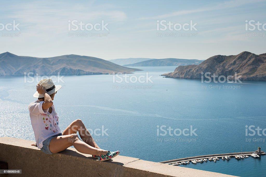 Traveler woman on vacation stock photo