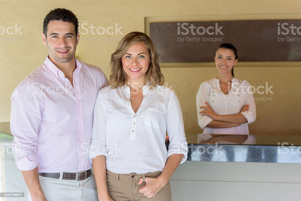 Travelers arriving at a hotel stock photo