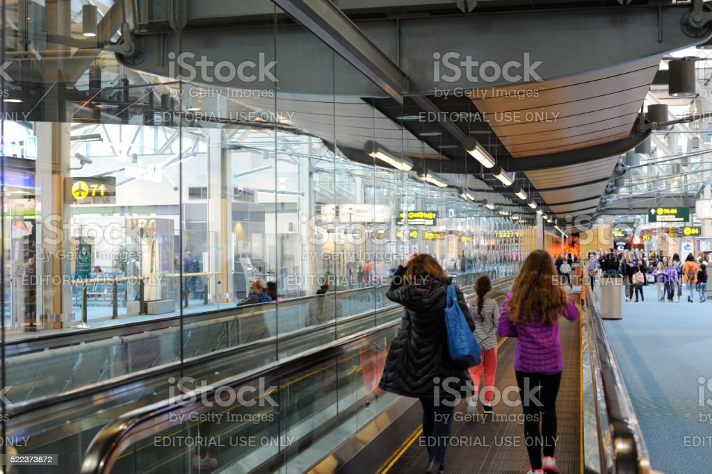 Travelers at Vancouver Airport stock photo