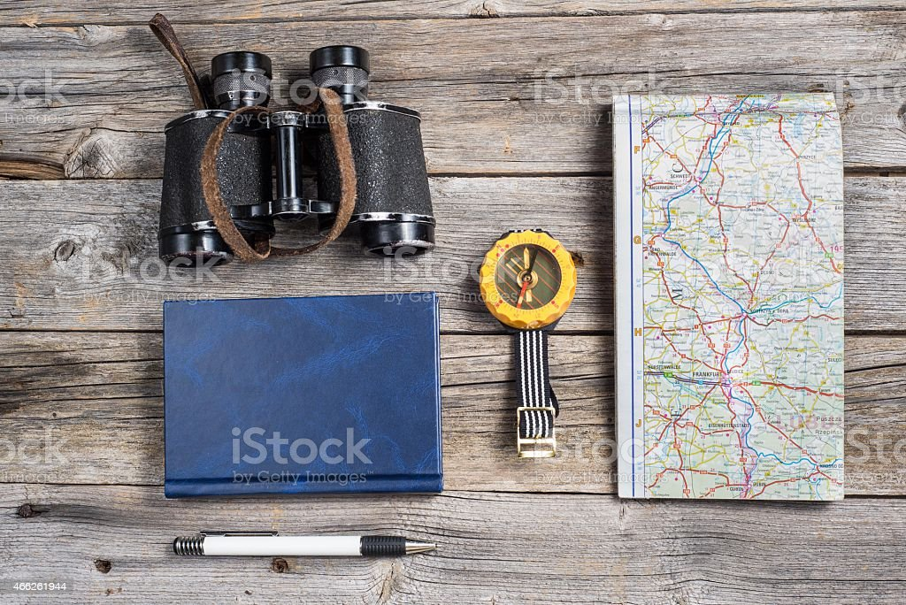 Traveler's equipment stock photo