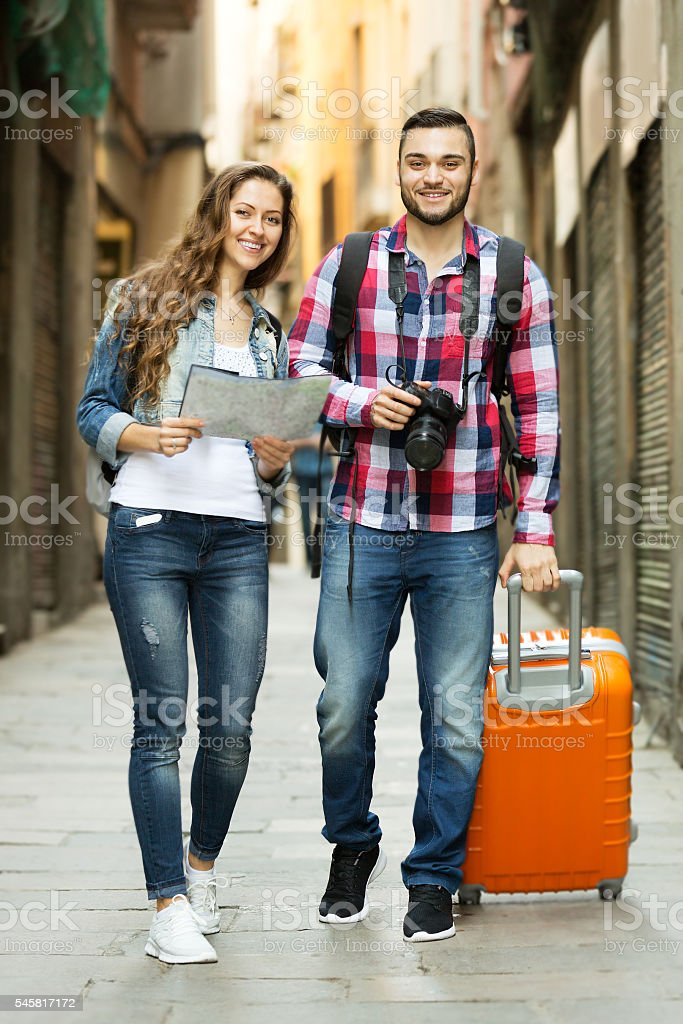 travelers going to the hotel stock photo
