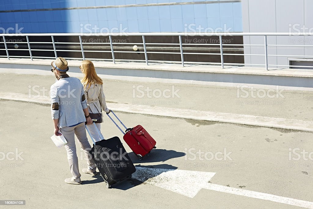Travelers in city royalty-free stock photo