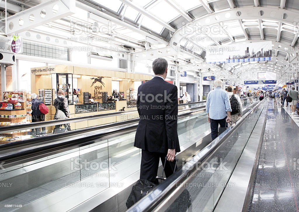Travelers in the Airport Terminal stock photo