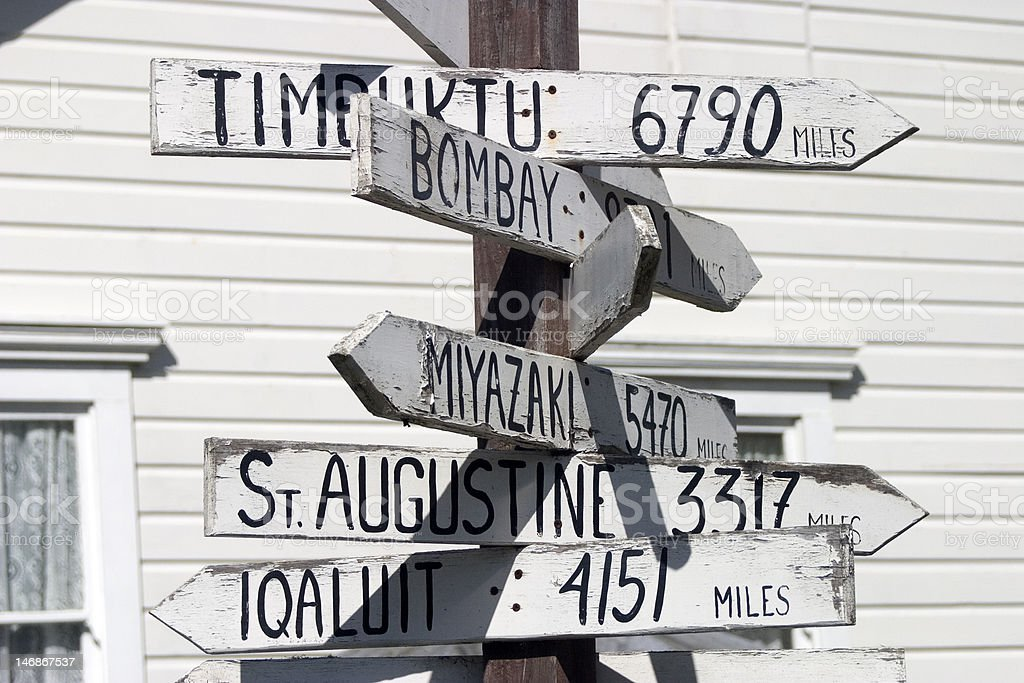 Traveler's Signpost stock photo