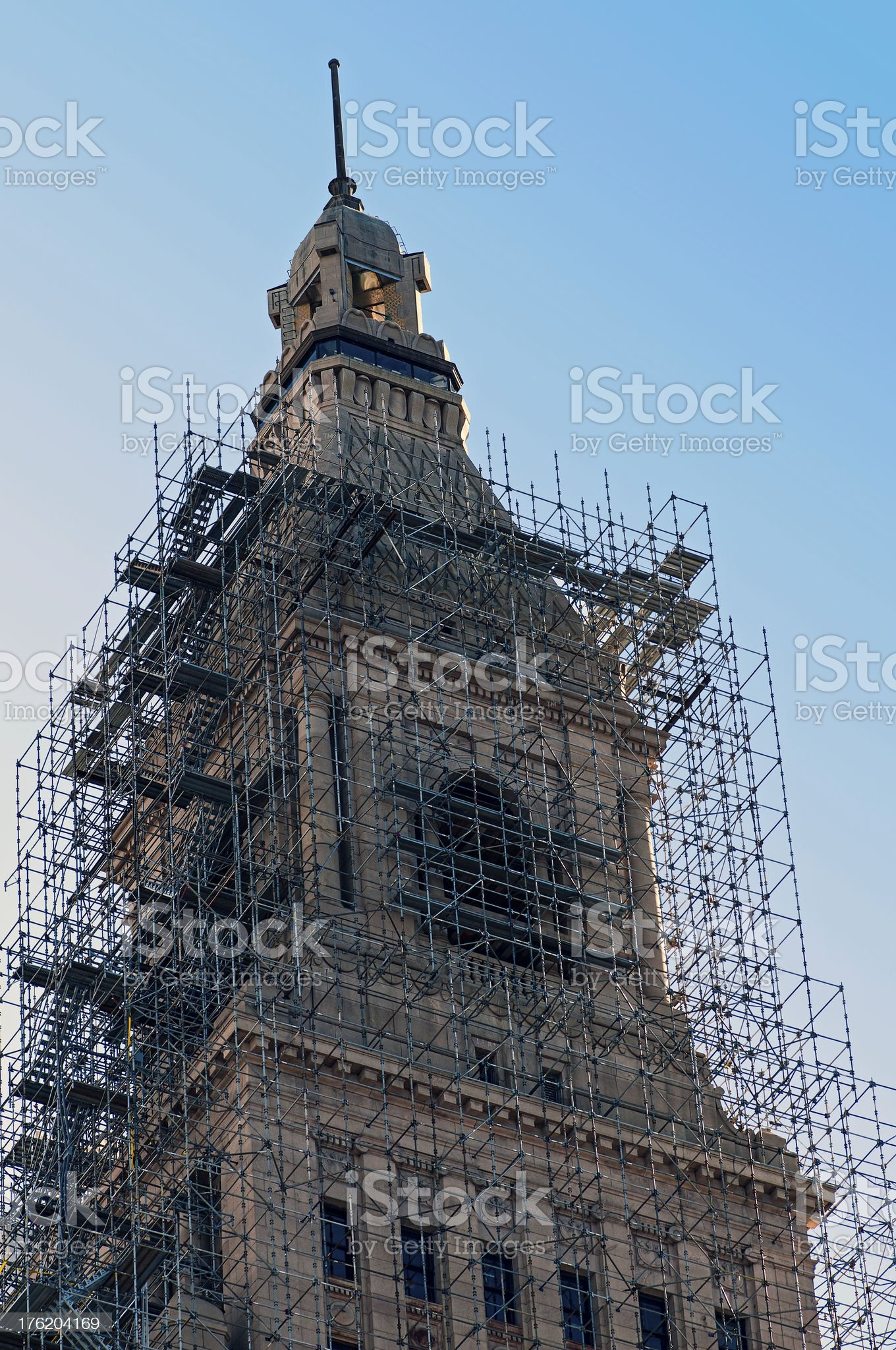 Travelers Tower Scaffolding for Renovation royalty-free stock photo