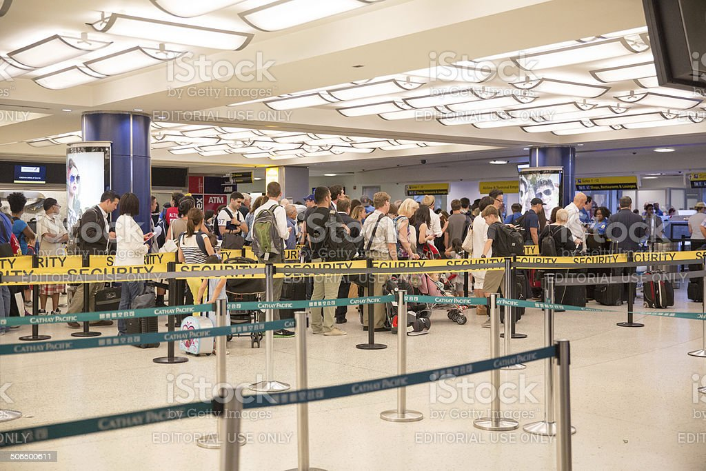 Travelers waiting in line to pass through airport security  rr stock photo