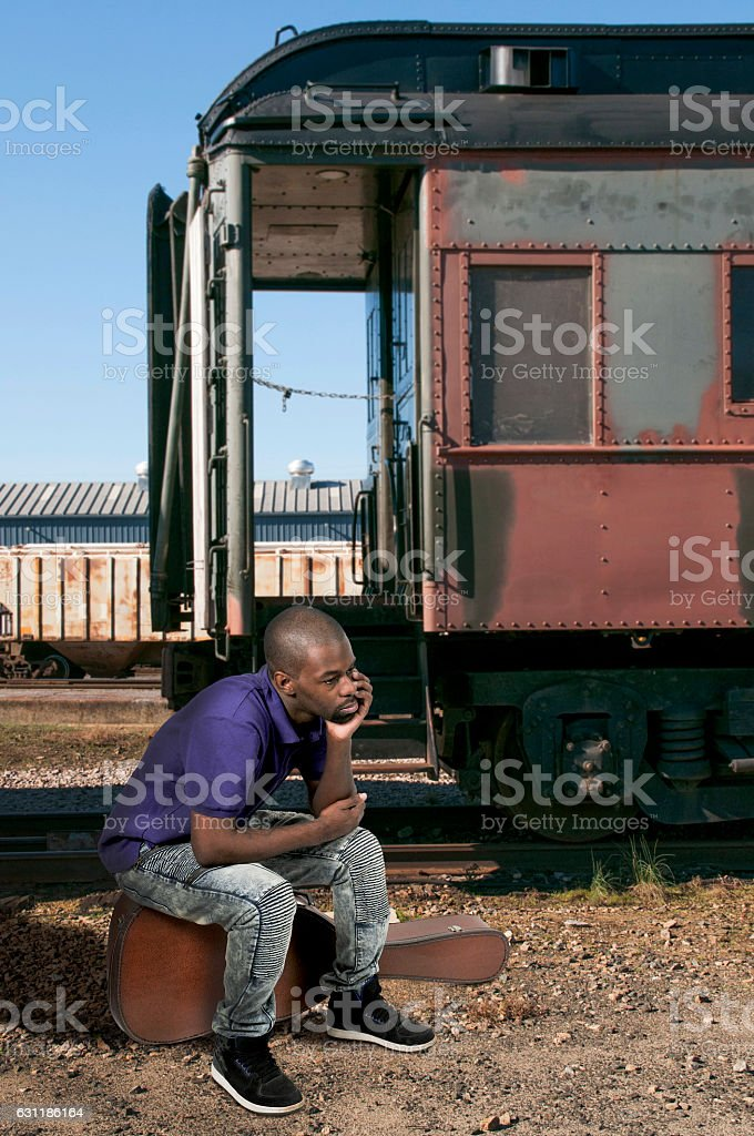 Traveling African American Musician stock photo