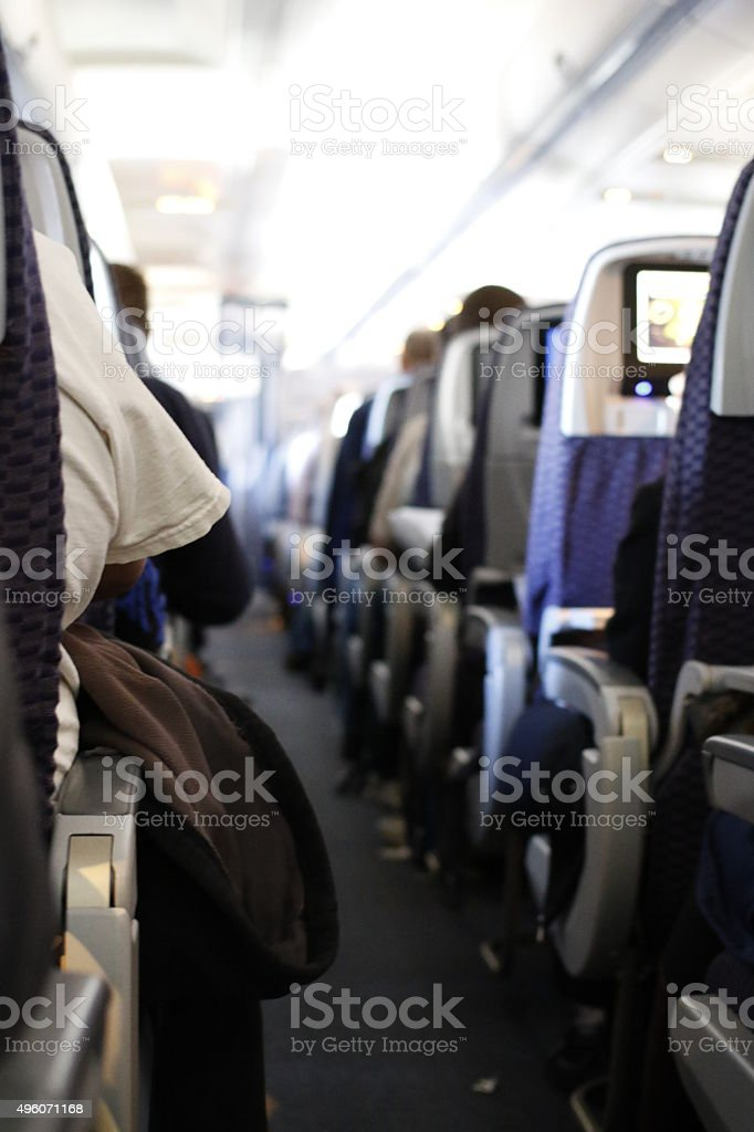 Traveling: airplane - seats stock photo