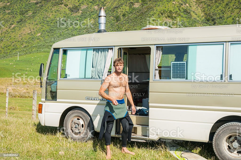 Traveling alone in mobile home stock photo