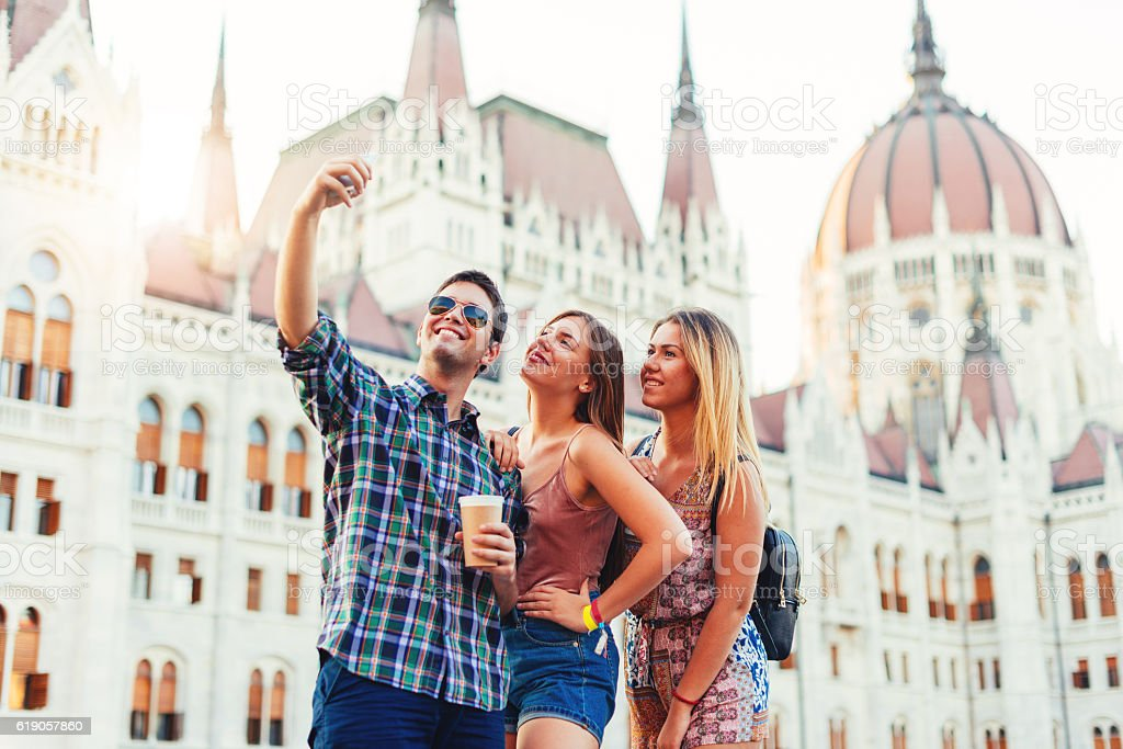 Traveling around and about European cities stock photo