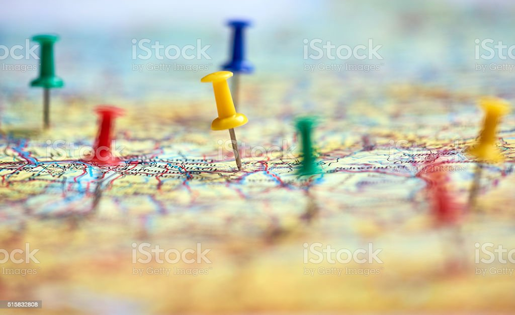 traveling background, pins on map stock photo