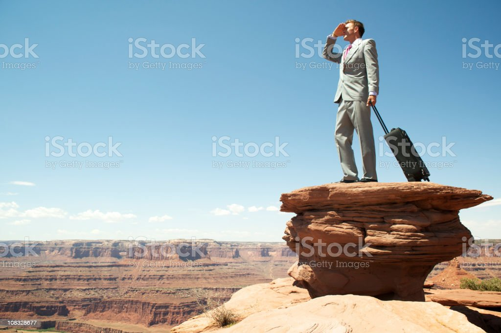 Traveling Businessman Looks Out over Grand Canyon Landscape stock photo