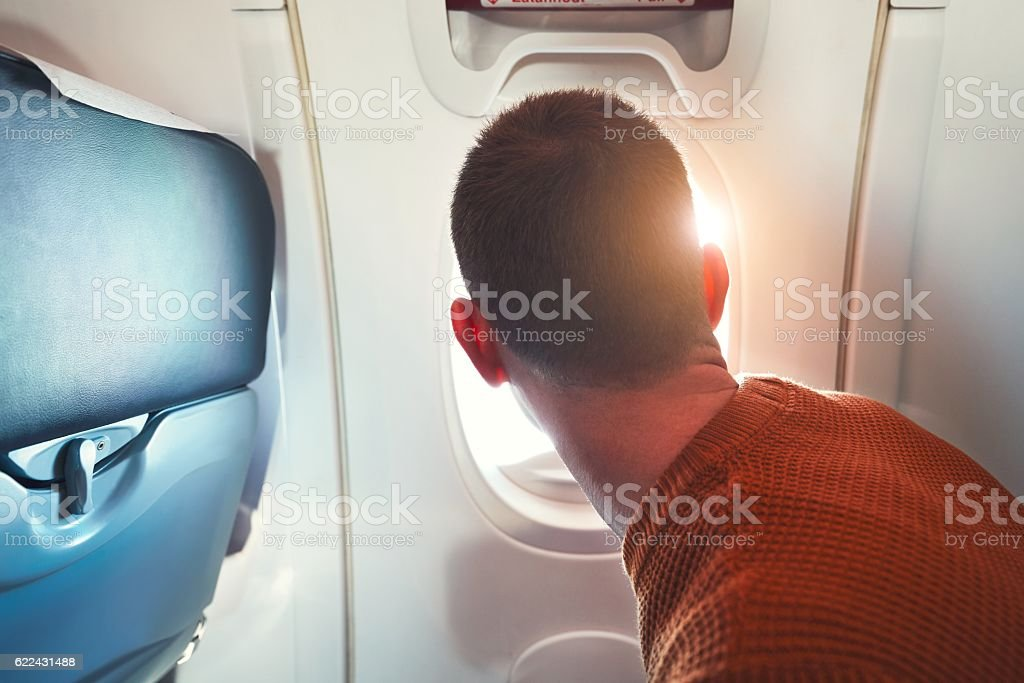 Traveling by airplane stock photo