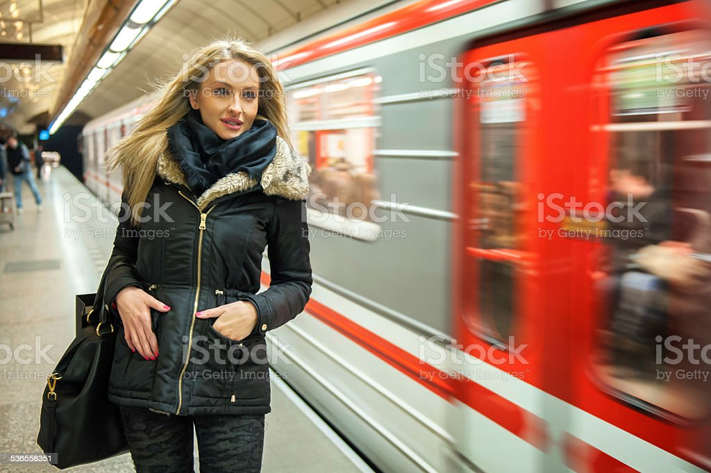 Traveling by city transport stock photo
