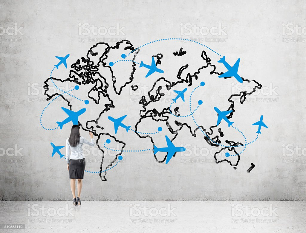 Traveling by plane stock photo