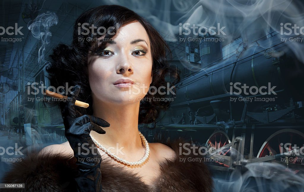 Traveling by train at last century royalty-free stock photo