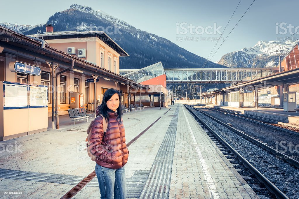 Traveling by train at the Alpine Railroad. stock photo