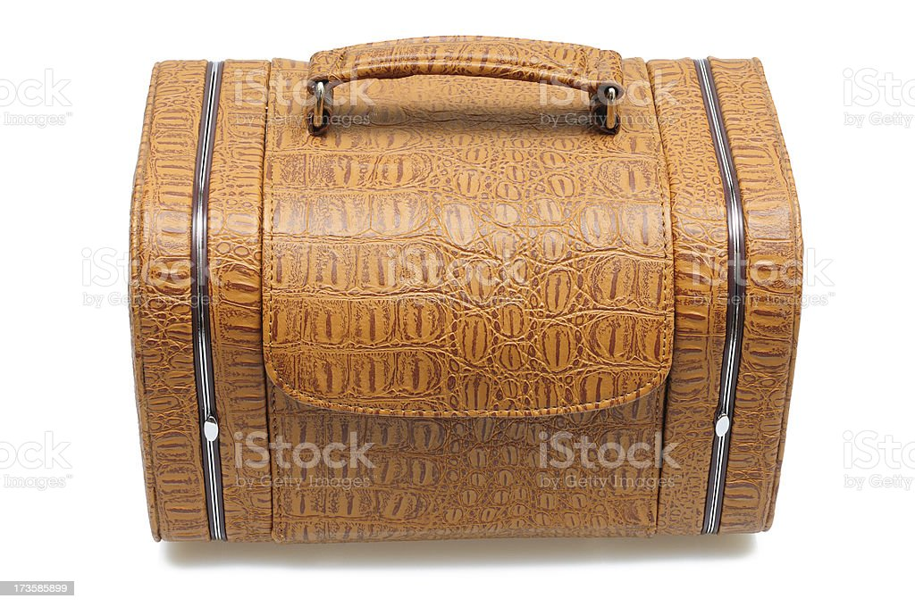 Traveling casket for jewelry. Isolated on white royalty-free stock photo