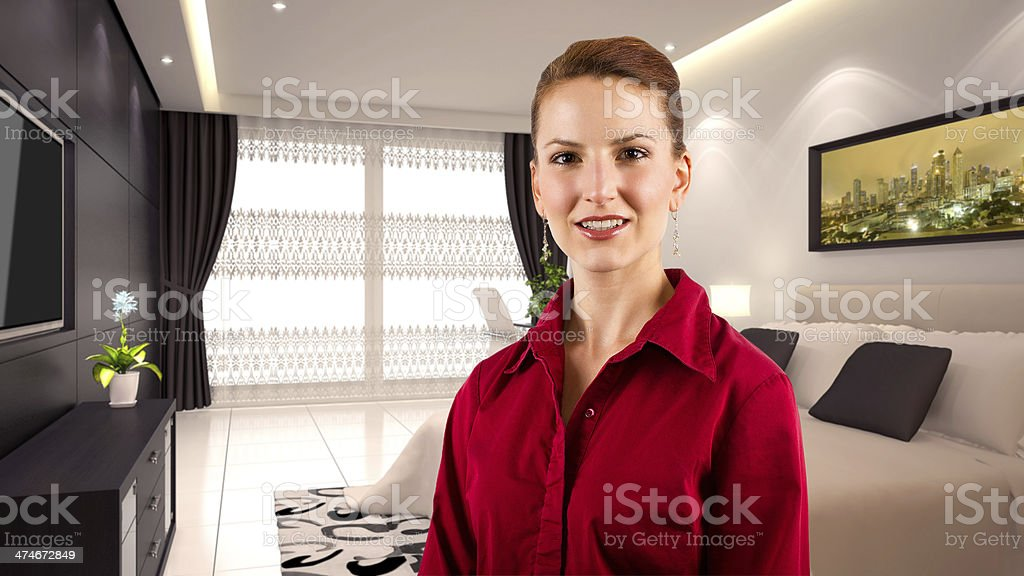 Traveling Caucasian Businesswoman in a Hotel Interior stock photo