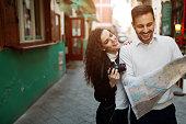 Traveling couple enjoying city