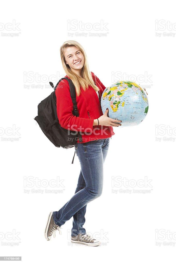 Traveling Exchange Student with World Globe on White Background royalty-free stock photo