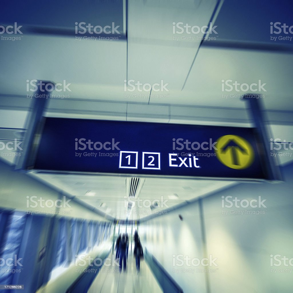 Traveling, Exit sign stock photo