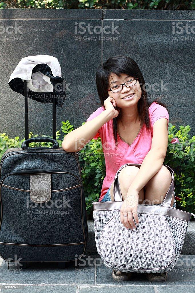 traveling girl royalty-free stock photo