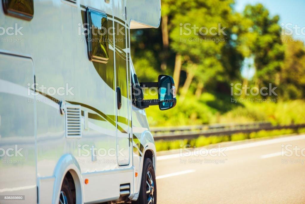 Traveling in Camper Van stock photo