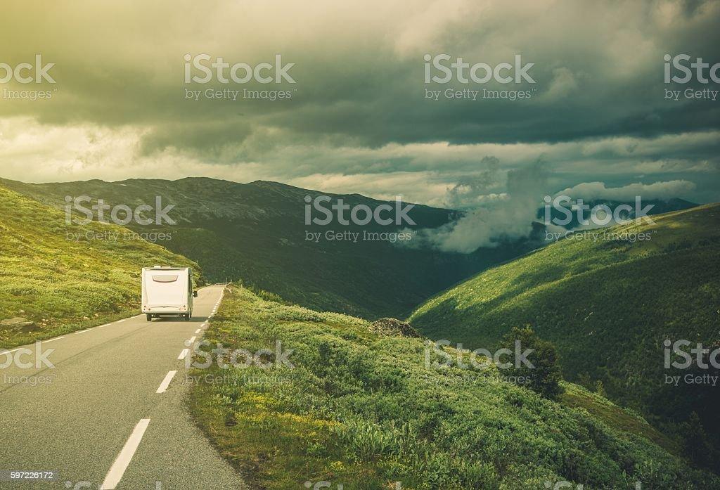 Traveling in RV Camper Van stock photo