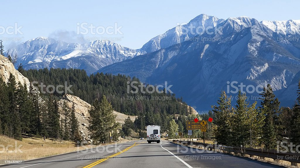 RV traveling in the Canadian Rockies, Jasper National Park, Canada stock photo
