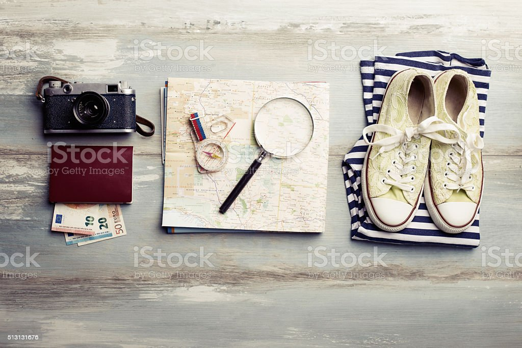 Traveling kit for tourists stock photo