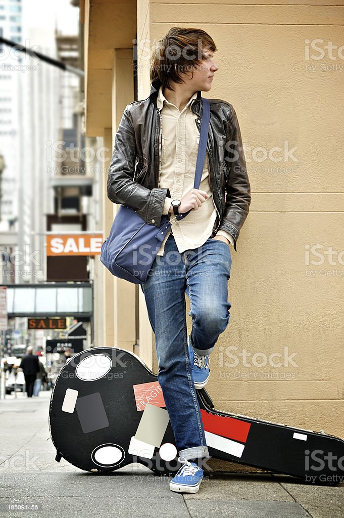 Traveling Musician stock photo