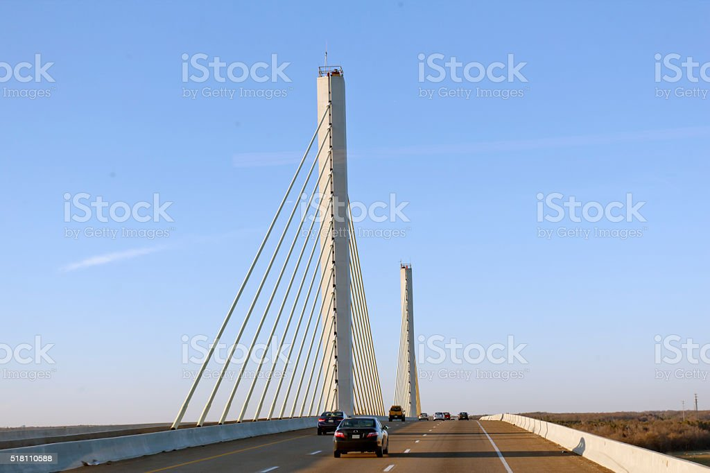 Traveling North on the Varina-Enon Bridge stock photo