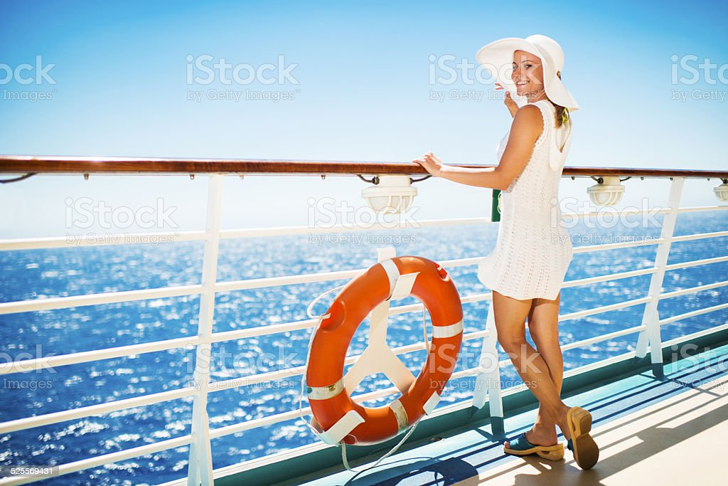 Traveling on a cruise ship. stock photo