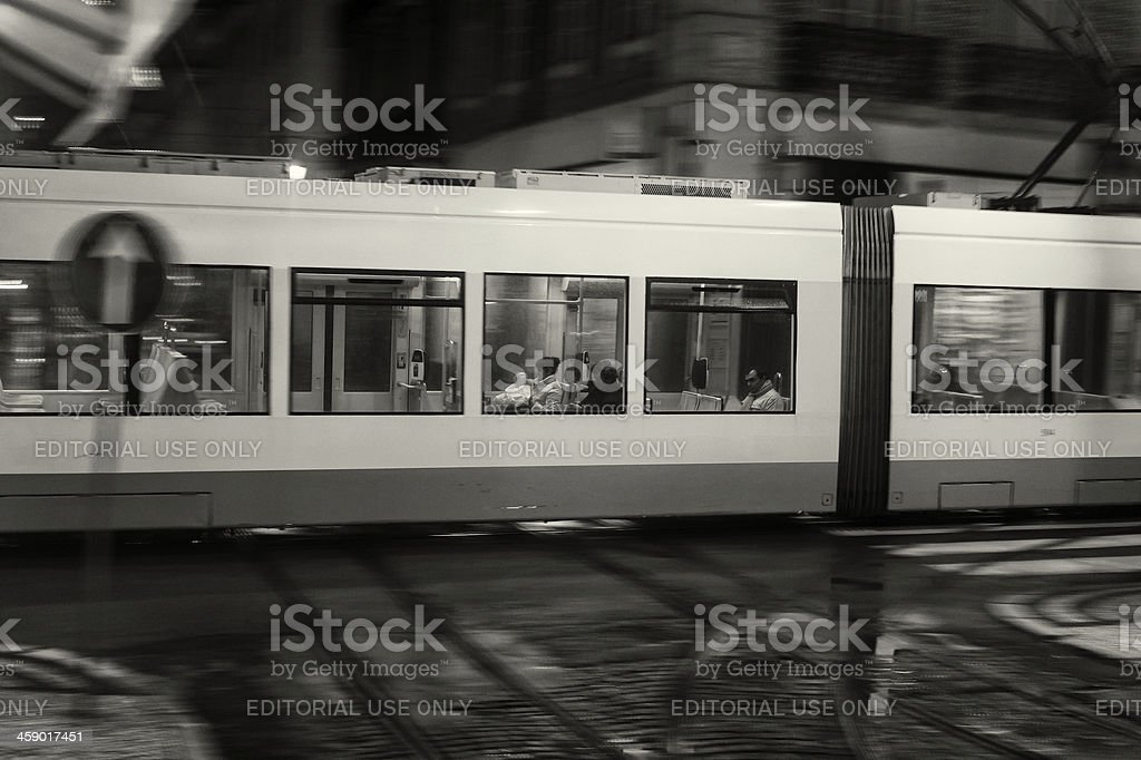 Traveling on the Lisbon Tram royalty-free stock photo