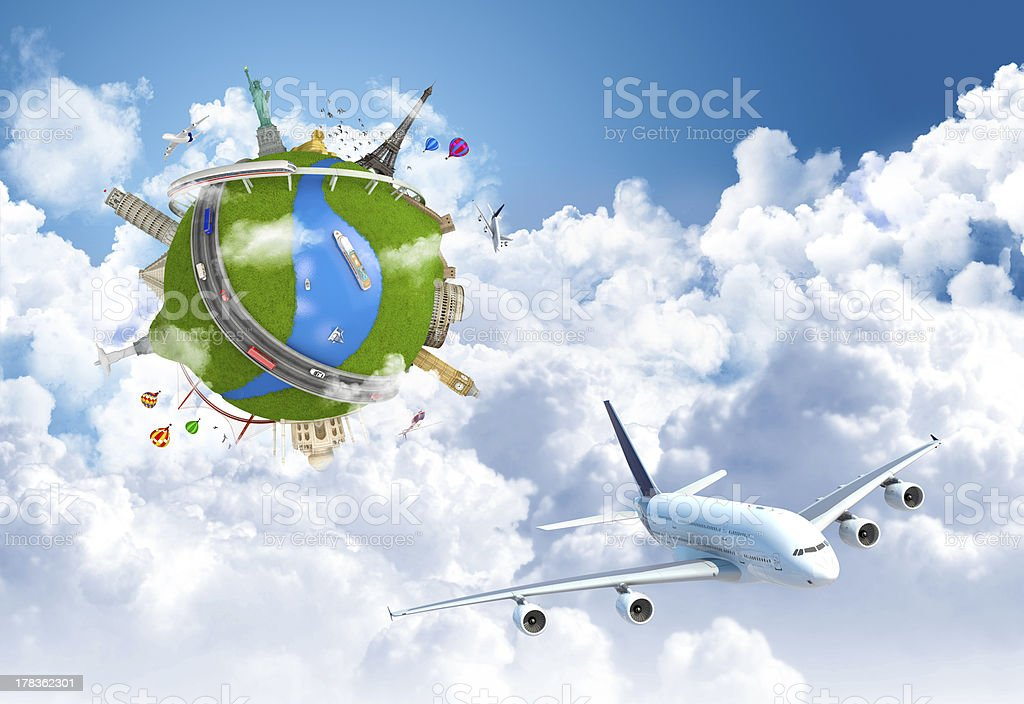 traveling the world dream globe concept stock photo