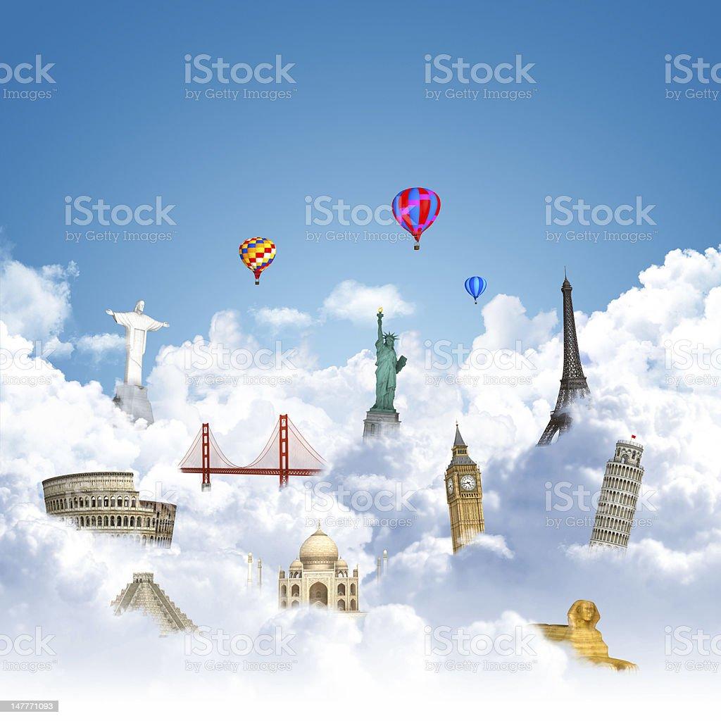 traveling the world dream landmark concept royalty-free stock photo