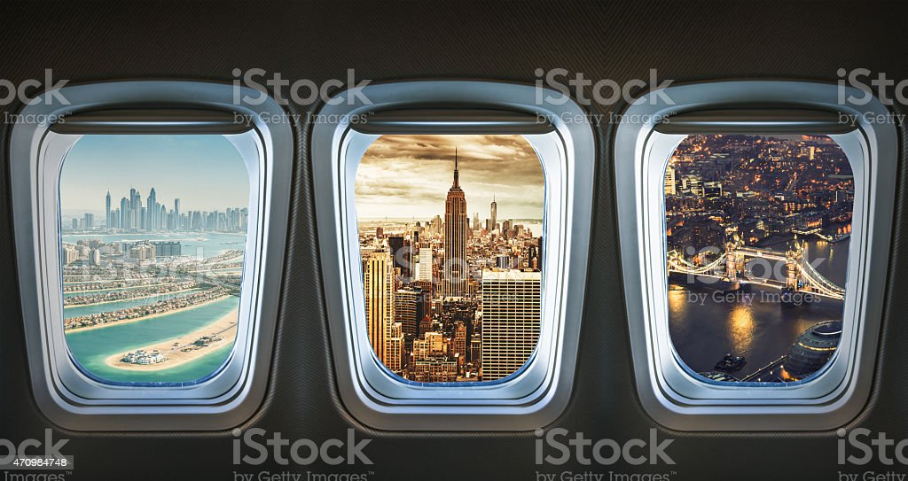 traveling the world with an airplane stock photo