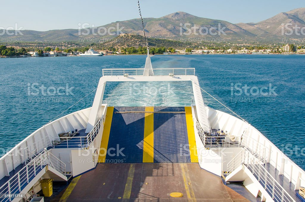 Traveling to a greek island stock photo