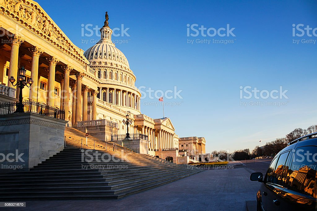 Traveling to the US Capitol stock photo
