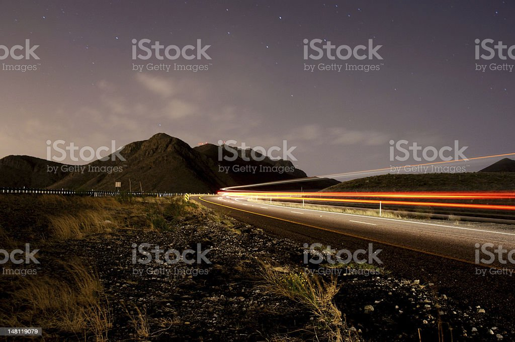 Traveling up the Mountain Road at Night stock photo