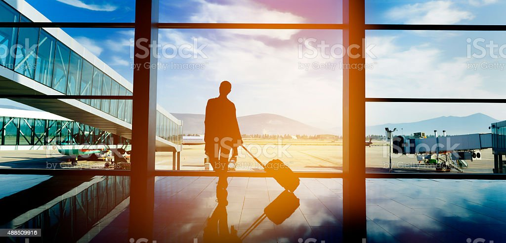 traveling with airplane stock photo