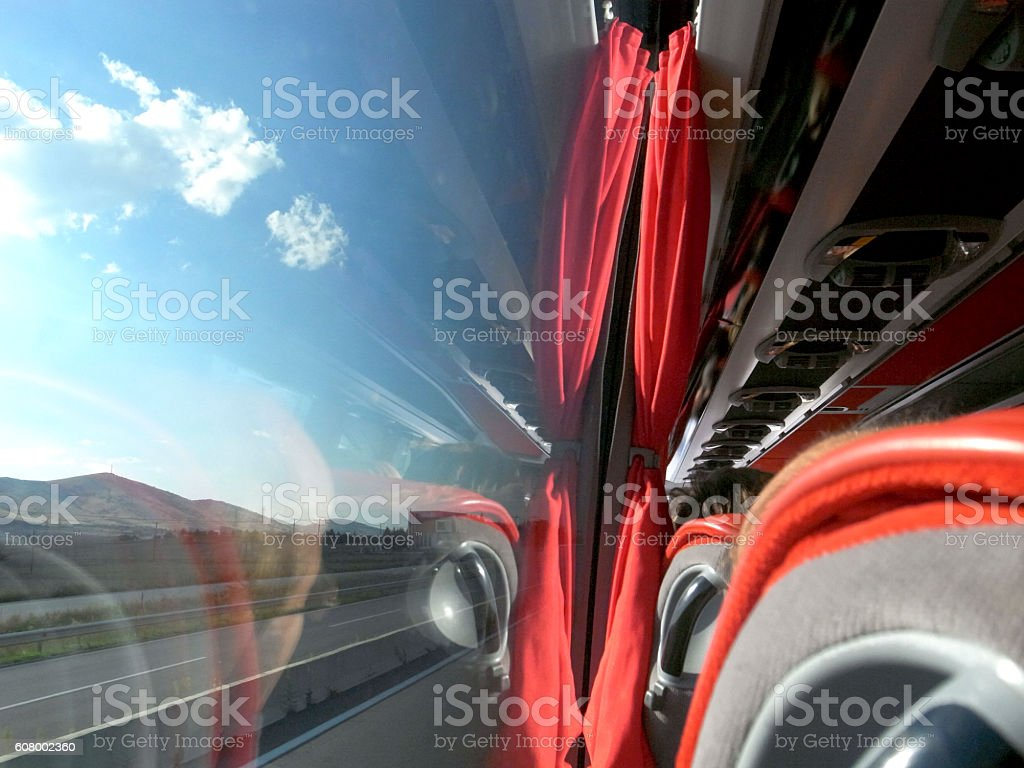 Traveling with bus stock photo