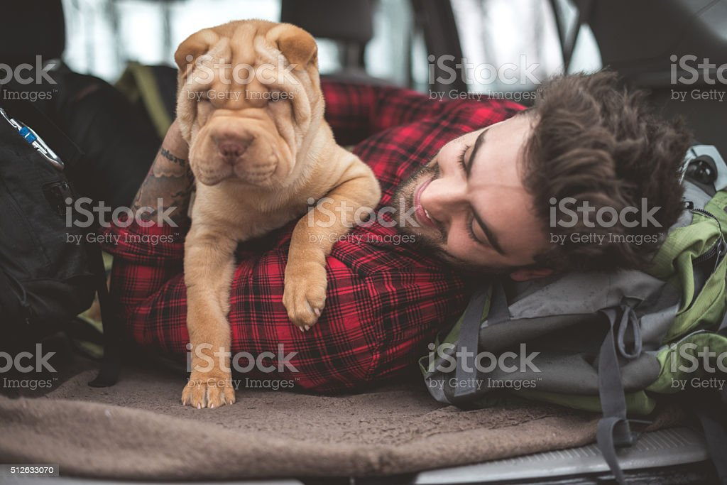 Traveling with his dog stock photo