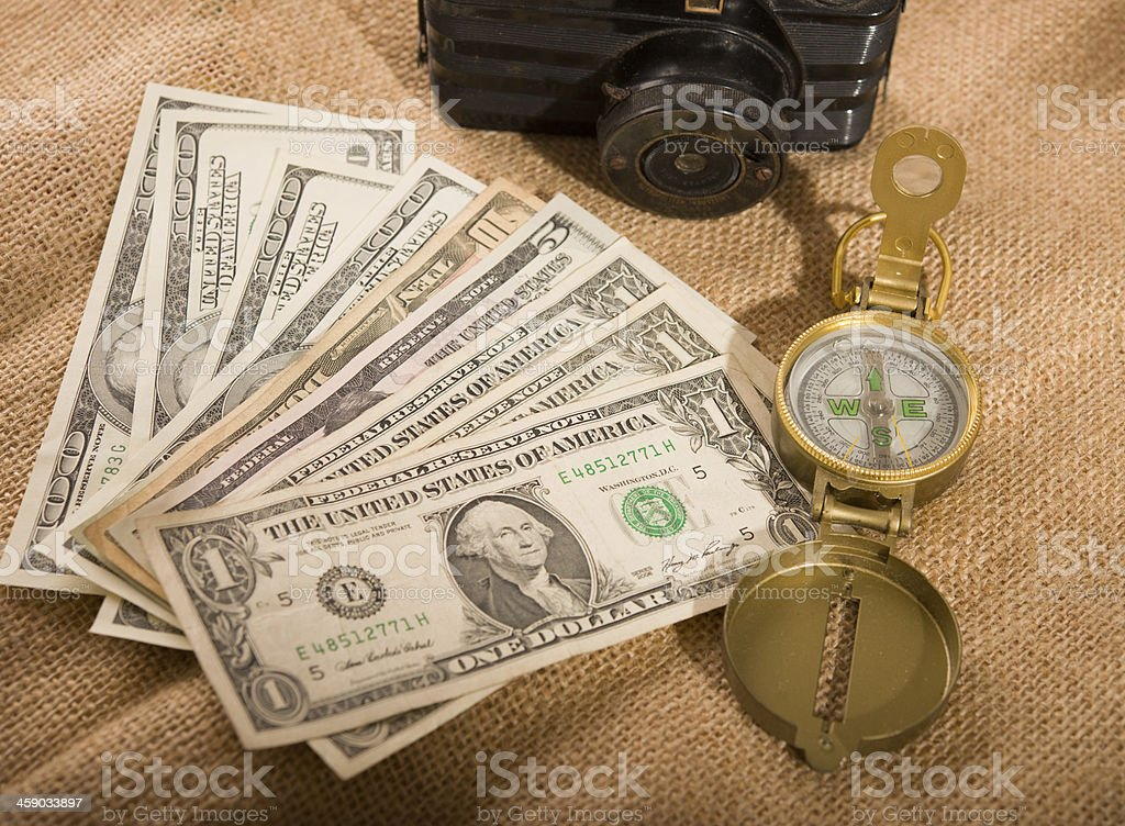 traveling with US dollars royalty-free stock photo