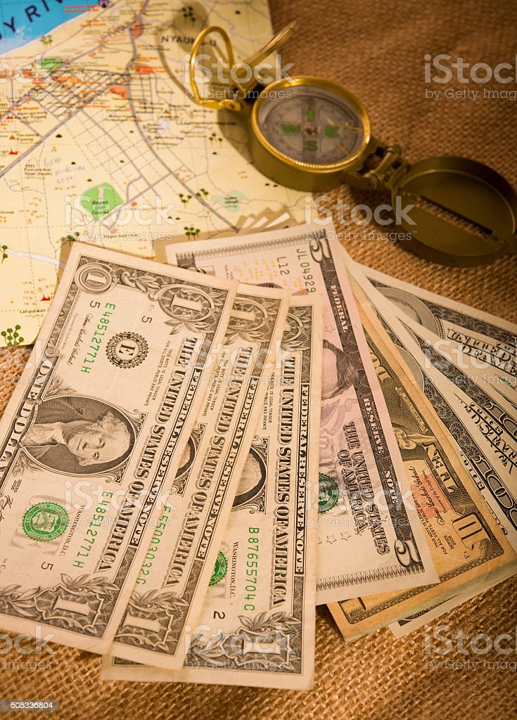 traveling with US dollars stock photo