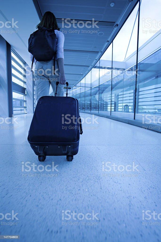 Traveling Woman Rushing to Flight royalty-free stock photo