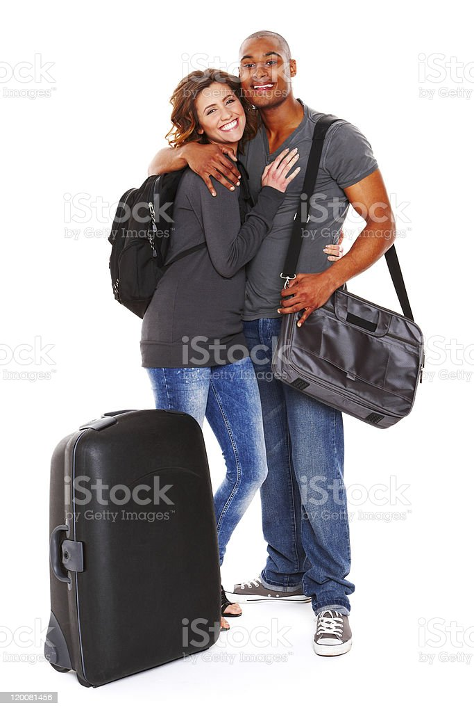 Traveling Young Couple - Isolated royalty-free stock photo