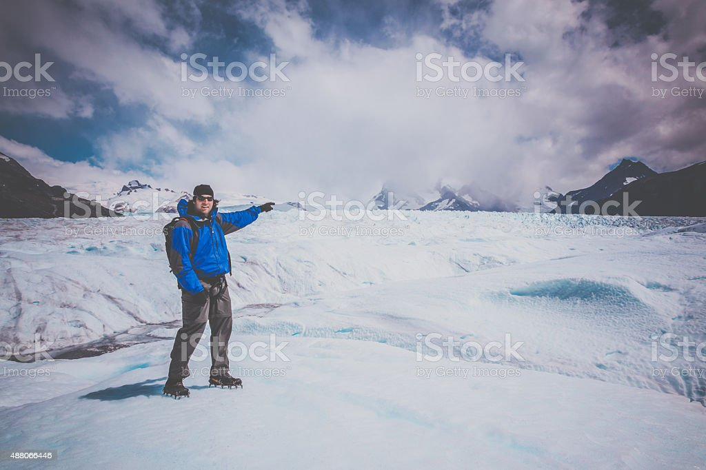 Traveller at Perito Moreno Glacier, Patagonia, Argentina stock photo